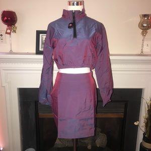 Purple Iridescent Two Piece Skirt Set